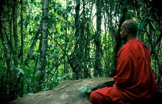 Тибетский монах медитирует фото